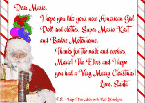 After Christmas letter from Santa Claus